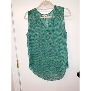 JOIE GREEN AND WHITE FLOWER PRINT BUTTON DOWN TANK